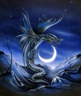 Moon Dragon II, dragon picture, Peter Pracownik Signed Framed Prints