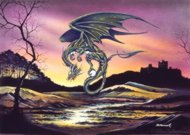 Emerald Dragon, dragon posters, Peter Pracownik Signed Framed Prints