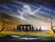 Grandfather Time, stonehenge druids, Peter Pracownik Signed Framed Prints